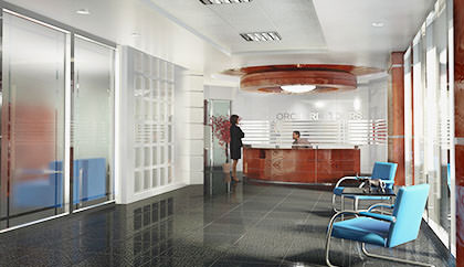 Office lobby interior rendering